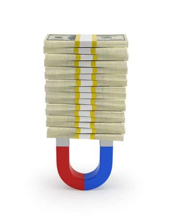 Money magnet, Isolated white background Stockfoto