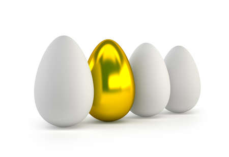 one golden egg, Isolated white background Stockfoto