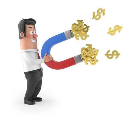3D funny cartoon manager  - money magnet, Isolated white background Stockfoto