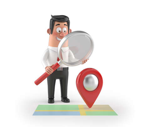 3D funny cartoon manager - looking location, Isolated white background