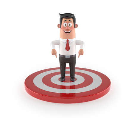 3D funny cartoon manager - goal, Isolated white background