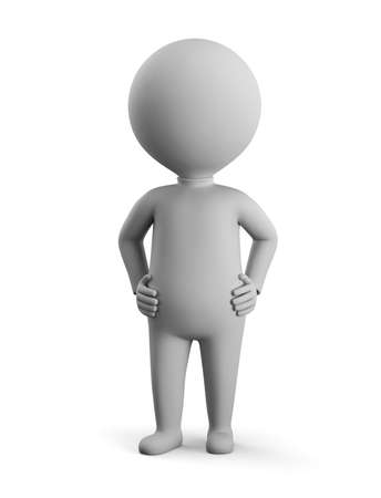 3D small man - confidence. 3d image. White background.