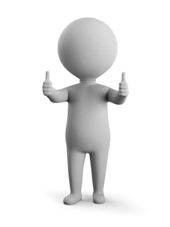 3D small man - double thumbs up. 3d image. White background.