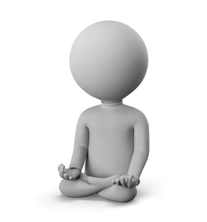 3D small man - meditation pose. 3d image. White background.