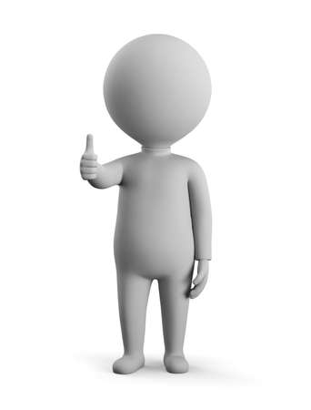 3D small man - thumbs up. 3d image. White background. Stockfoto
