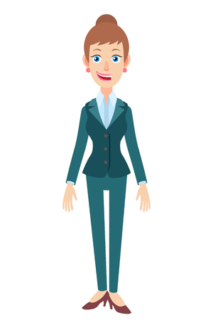 Full length portrait of Cartoon Businesswoman. Character for rigging and animation. Vector illustration in a flat style.