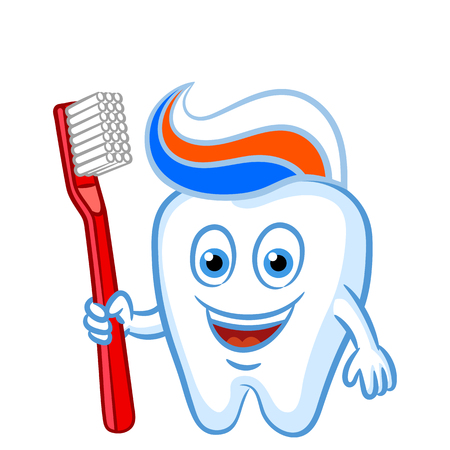 Cartoon tooth with with toothbrush and toothpaste. Cartoon tooth is prepared to brush himself. Vector illustration. Illustration