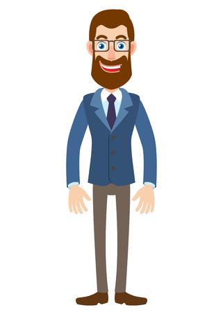 Volledige lengte portret van Cartoon Hipster zakenman. Karakter voor tuigage en animatie. Vectorillustratie in een vlakke stijl. Stock Illustratie