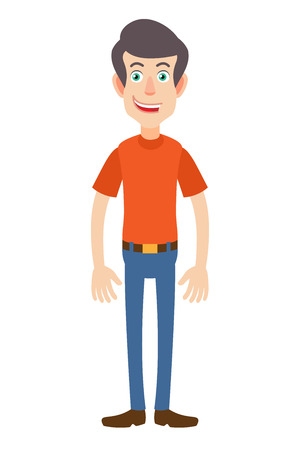 Full length portrait of Cartoon Man. Character for rigging and animation. Vector illustration in a flat style.