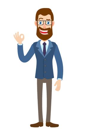 Hipster empresario mostrando un signo de mano bien. Retrato de cuerpo entero de Cartoon Hipster Businessman. Ilustración de vector en un estilo plano.