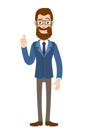 Hombre de negocios con los dedos cruzados. Ilustración de vector