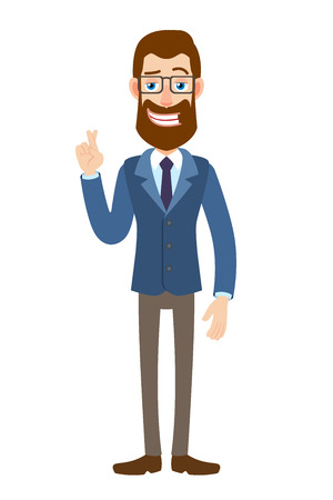 Businessman with crossed fingers.
