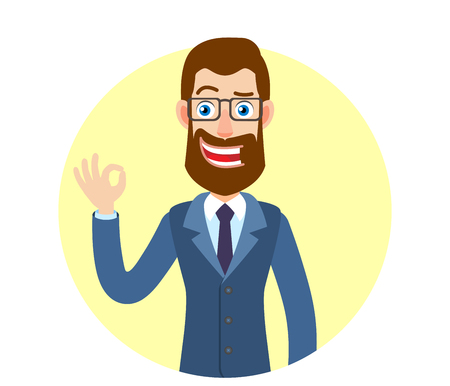 all ok: Hipster Businessman showing a okay hand sign. Portrait of Cartoon Hipster Businessman Character. Vector illustration in a flat style.