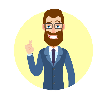 Businessman with crossed fingers. Portrait of Cartoon Hipster Businessman Character. Vector illustration in a flat style.