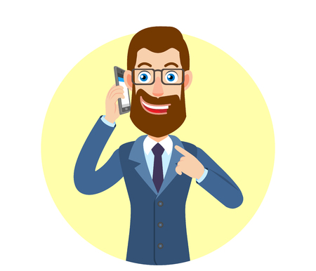 Businessman pointing his finger at the mobile phone that he talks. Portrait of Cartoon Hipster Businessman Character. Vector illustration in a flat style. Illustration