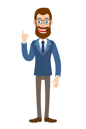 Hipster Businessman pointing up. Full length portrait of Cartoon Hipster Businessman Character. Vector illustration in a flat style. Illustration