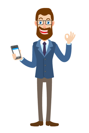 Hipster Businessman holding mobile phone and showing a okay hand sign. Full length portrait of Cartoon Hipster Businessman Character. Vector illustration in a flat style.