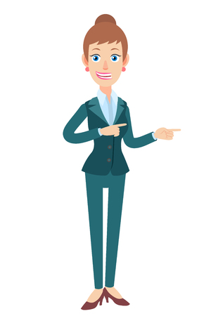 Businesswoman showing something beside of her. Full length portrait of Cartoon Businesswoman Character. Vector illustration in a flat style.