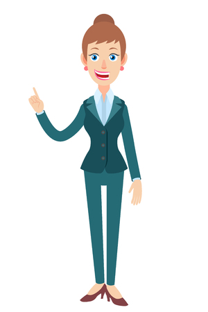 Businesswoman pointing up. Full length portrait of Cartoon Businesswoman Character. Vector illustration in a flat style.