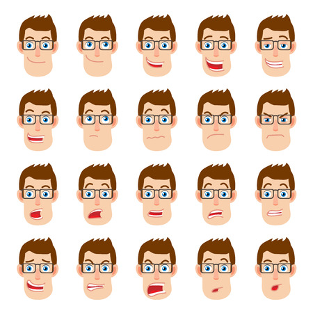 cartoon adult: Cartoon Businessman Character. Different facial expressions. Emotional set for rigging and animation. Vector illustration in a flat style. Illustration