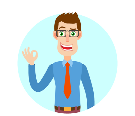 all ok: Businessman showing a okay hand sign. Portrait of Cartoon Businessman Character. Vector illustration in a flat style.