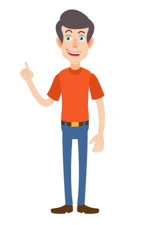 Man pointing up. Full length portrait of Cartoon Man in red t-shirt. Vector illustration in a flat style. Illustration