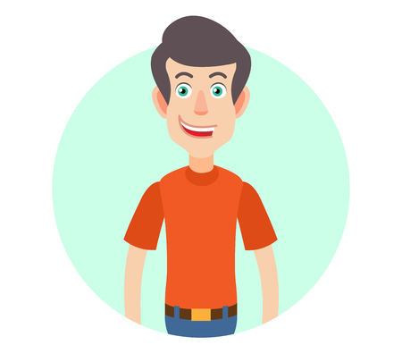 Portrait of Cartoon Man in red t-shirt. Vector illustration in a flat style.