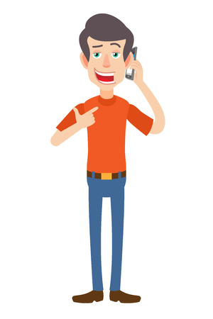 Man pointing his finger at the mobile phone that he talks. Full length portrait of Cartoon Man in red t-shirt. Vector illustration in a flat style. Illustration