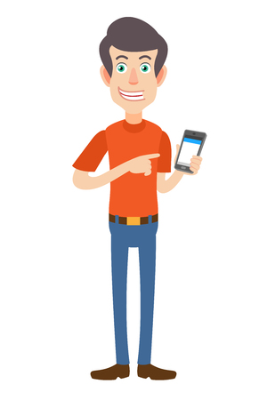 Man pointing at mobile phone in his hand. Full length portrait of Cartoon Man in red t-shirt. Vector illustration in a flat style. Illustration
