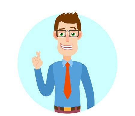 Zakenman met gekruiste vingers. Portret van stripfiguur zakenman karakter. Vectorillustratie in een vlakke stijl. Stockfoto - 77919919
