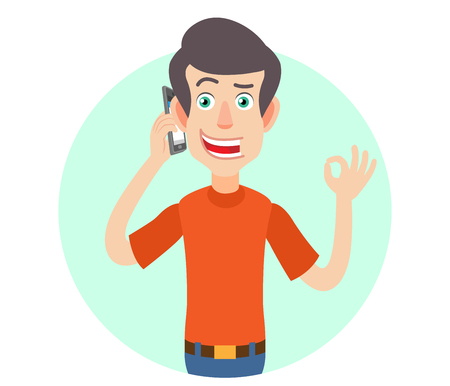 all ok: Man talking on mobile phone and showing a okay hand sign. Portrait of Cartoon Man in red t-shirt.