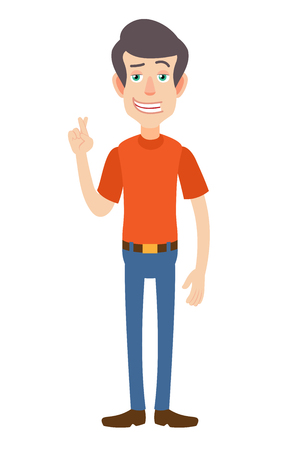 Man with crossed fingers. Full length portrait of Cartoon Man in red t-shirt. Vector illustration in a flat style.
