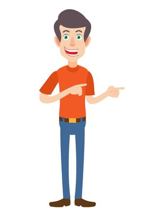 Man showing something beside of him. Full length portrait of Cartoon Man in red t-shirt. Vector illustration in a flat style.