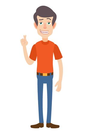 Man met gekruiste vingers. Volledige lengte portret van Cartoon Man in rode t-shirt. Vectorillustratie in een vlakke stijl.