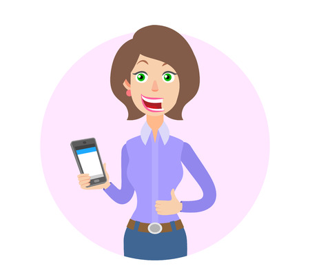woman on phone: Businesswoman holding mobile phone and showing thumb up. Portrait of Cartoon Businesswoman Character. Vector illustration in a flat style. Illustration