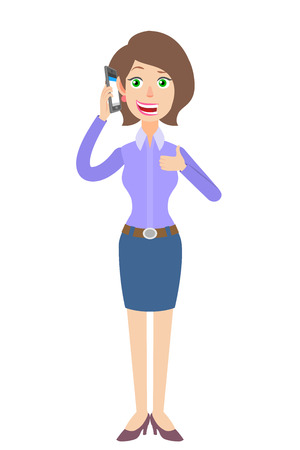 woman on phone: Businesswoman talking on mobile phone and showing thumb up. Full length portrait of Cartoon Businesswoman Character. Vector illustration in a flat style. Illustration
