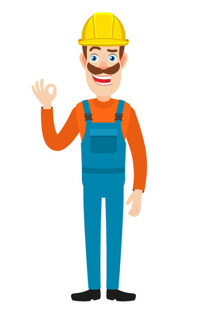 Builder showing a okay hand sign. Full length portrait of Cartoon Builder Character. Vector illustration in a flat style.