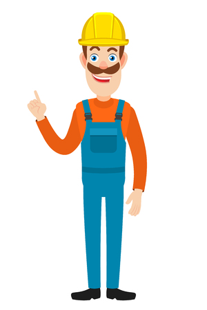 Builder pointing up. Full length portrait of Cartoon Builder Character. Vector illustration in a flat style.