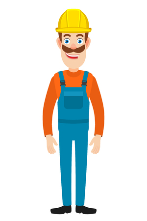 Full length portrait of Cartoon Builder Character. Vector illustration in a flat style.