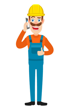 Builder talking on mobile phone and showing thumb up. Full length portrait of Cartoon Builder Character. Vector illustration in a flat style.