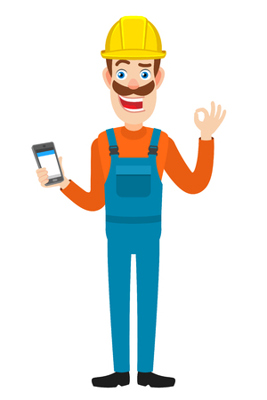 Builder holding mobile phone and showing a okay hand sign. Full length portrait of Cartoon Builder Character. Vector illustration in a flat style. Illustration