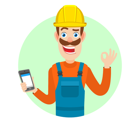 all ok: Builder holding mobile phone and showing a okay hand sign. Portrait of Cartoon Builder Character. Vector illustration in a flat style. Illustration