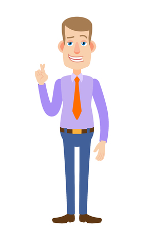 Businessman with crossed fingers. Full length portrait of Cartoon Businessman Character. Vector illustration in a flat style. Illustration