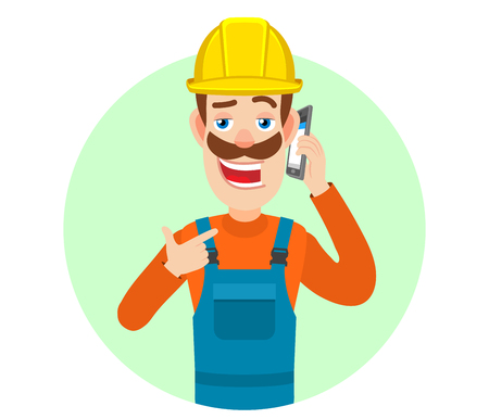 Builder pointing his finger at the mobile phone that he talks. Portrait of Cartoon Builder Character. Vector illustration in a flat style.