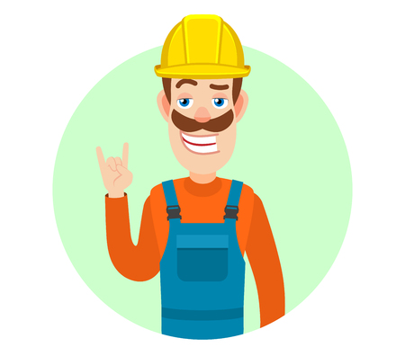 Builder showing Rock and Roll sign. Portrait of Cartoon Builder Character. Vector illustration in a flat style. Illustration