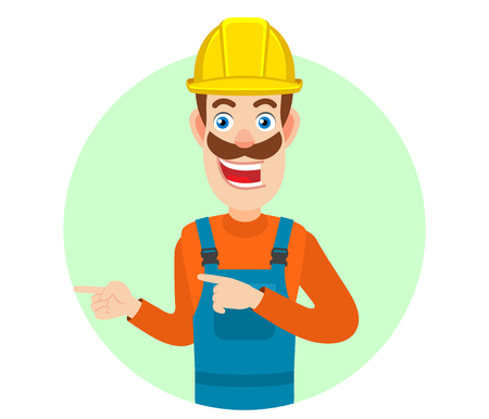 Builder pointing something beside of him. Portrait of Cartoon Builder Character. Vector illustration in a flat style.