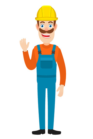 Builde raised a hand in greeting. Full length portrait of Cartoon Builder Character. Vector illustration in a flat style. Illustration