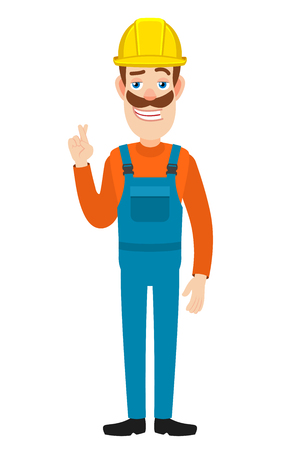 Builde with crossed fingers. Full length portrait of Cartoon Builder Character. Vector illustration in a flat style. Illustration
