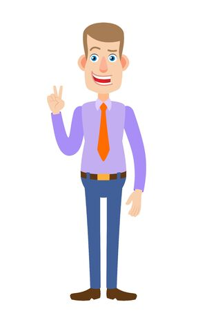Victory! Businessman showing victory sign. Full length portrait of Cartoon Businessman Character. Vector illustration in a flat style. Illustration