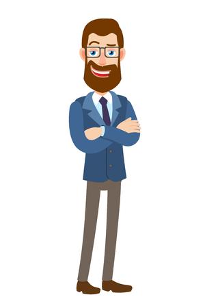 Hipster zakenman met armen gekruist op zijn borst. Volledige lengte portret van Cartoon Hipster zakenman karakter. Vectorillustratie in een vlakke stijl.